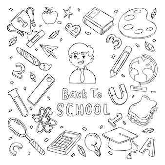 Mignon doodle dessiné à la main retour à l'école