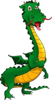 Mignon, dragon, pouce haut, dessin animé