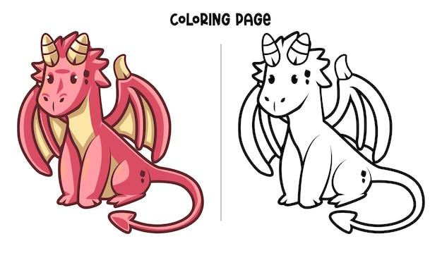Mignon dragon rouge assis. coloriage imprimable et livre de coloriage
