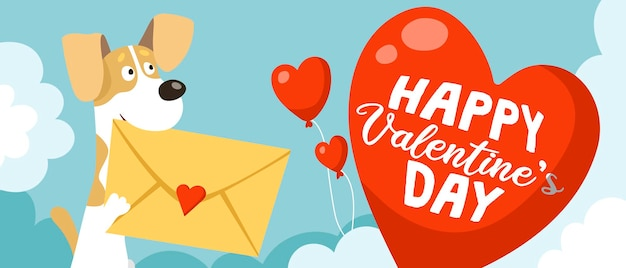 Mignon drôle de chien jack russell terrier tient une enveloppe avec une carte de la saint-valentin dans ses dents
