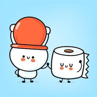 Mignon drôle de cuvette de toilette blanche heureuse et rouleau de papier