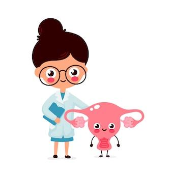 Mignon drôle femme souriante gynécologue médecin et utérus heureux en bonne santé. soins de santé, aide médicale. personnage de dessin animé plat. isolé sur fond blanc