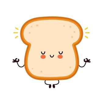 Mignon drôle de personnage de pain grillé heureux méditer.