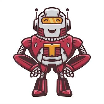 Mignon, drôle, robot, stand, art, illustration