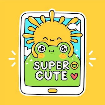 Mignon drôle de soleil étreint la grenouille dans le smartphone