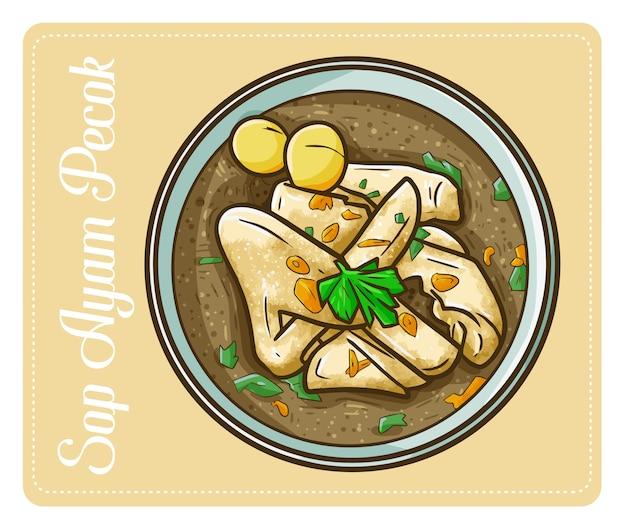 Mignon et drôle sop ayam pecok un plat de poulet traditionnel d'indonésie