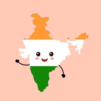 Mignon drôle souriant heureux inde carte et drapeau personnage.