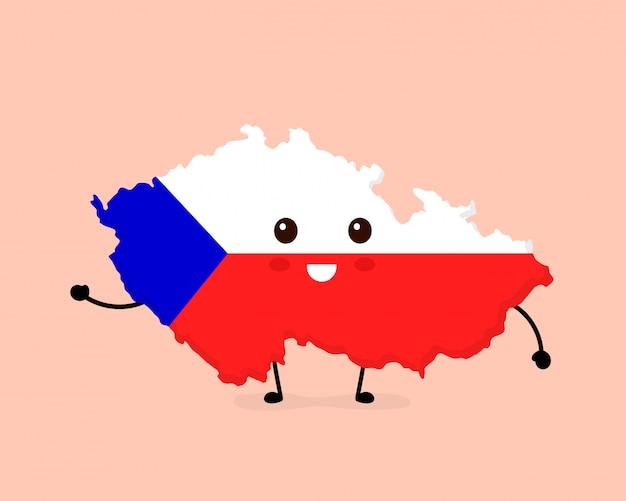Mignon drôle souriant joyeux caractère tchèque carte et drapeau.