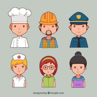 Mignon ensemble d'avatars de bande dessinée