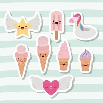 Mignon ensemble de crèmes glacées et étoile et coeur et licorne
