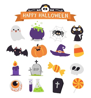 Mignon ensemble d'éléments d'halloween.
