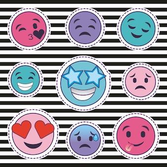 Mignon ensemble d'émoticônes de sourire