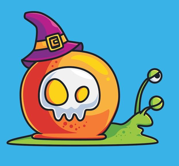 Mignon escargot assistant animal de dessin animé endormi concept d'événement halloween illustration isolée style plat