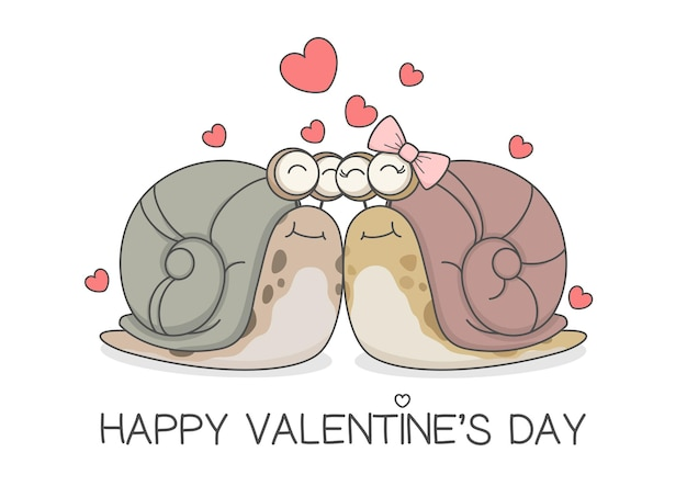 Mignon escargot couple saint valentin