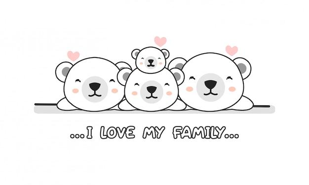 Mignon famille heureuse ours polaire dire