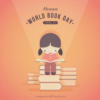 Mignon fille lisant un fond de livres