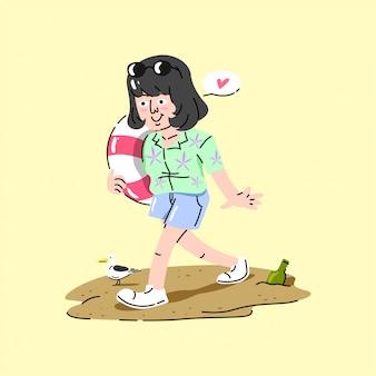 Mignon fille marche sur le sable et apportez un pneu de natation illustration d'été.