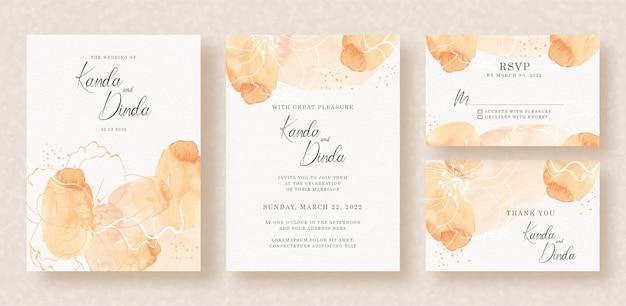 Mignon de fleur de floraison avec aquarelle splash orange sur invitation de mariage