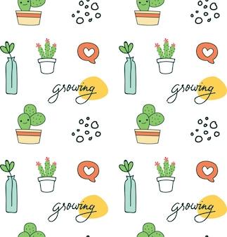Mignon fond sans couture avec cactus