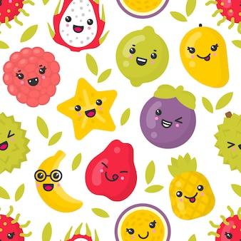 Mignon fruits exotiques souriants, modèle sans couture