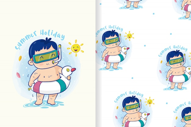 Mignon garçon avec un anneau de bouée de sauvetage se prépare à nager aux vacances d'été, vecteur de dessin animé de modèle sans couture