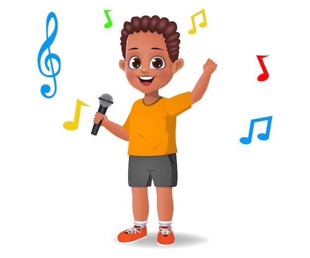 Mignon garçon enfant chantant la chanson isolée sur blanc