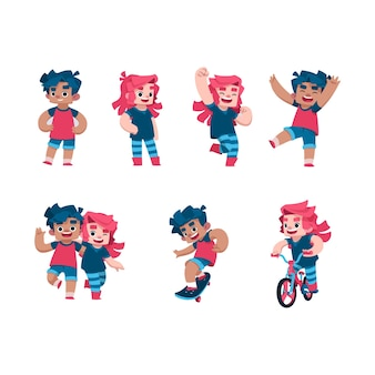 Mignon garçon et fille enfants vector illustration art