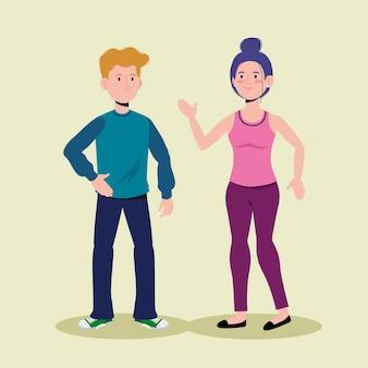 Mignon garçon et fille parlant avec des vêtements décontractés