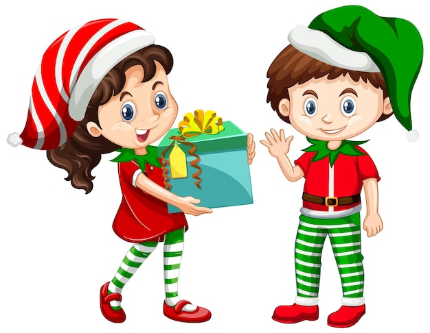 Mignon garçon et fille portant le personnage de dessin animé de costumes de noël