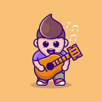 Mignon, garçon, jouer guitare, dessin animé