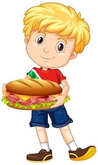 Mignon, garçon, tenue, sandwich