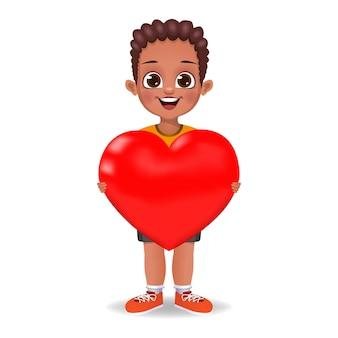 Mignon, garçon, tenue, symbole coeur