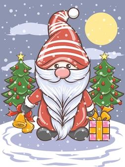 Mignon gnome tenant des grelots - illustration de noël