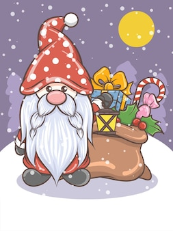 Mignon gnome tenant une lanterne solaire - illustration de noël