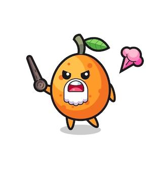 Mignon grand-père kumquat se fâche, design de style mignon pour t-shirt, autocollant, élément de logo