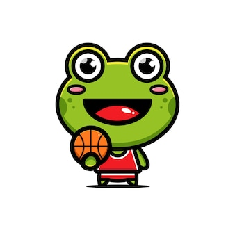 Mignon, grenouille, jouer, basket ball