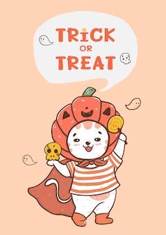 Mignon gros chat souriant heureux avec halloween costume de tête de citrouille orange, tromper ou traiter la carte, illustration plate