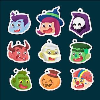 Mignon halloween faces autocollants porte-clés collection de dessins animés plats dessinés à la main