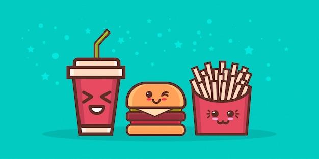 Mignon hamburger pomme de terre gratuit et soda restauration rapide mis en bande dessinée personnages de bandes dessinées