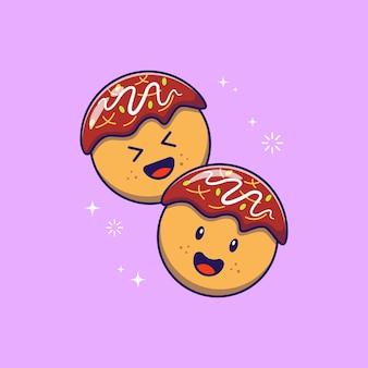 Mignon happy takoyaki octopus balls icône plate illustration isolé