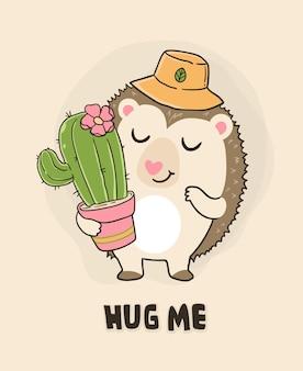 Mignon hérisson et cactus
