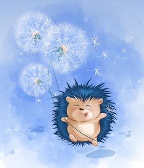 Un mignon hérisson court joyeusement et tient un bouquet de pissenlits blancs.