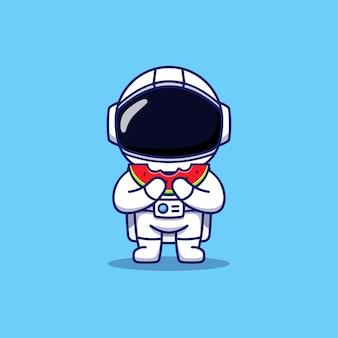 Mignon, heureux, astronaute, manger pastèque