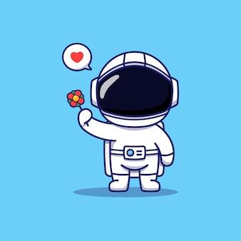 Mignon, heureux, astronaute, porter, fleur rouge