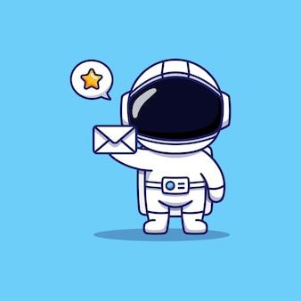 Mignon, heureux, astronaute, porter, lettre