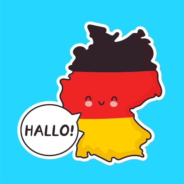 Mignon heureux drôle de carte de l'allemagne et le caractère du drapeau avec le mot hallo dans la bulle de dialogue