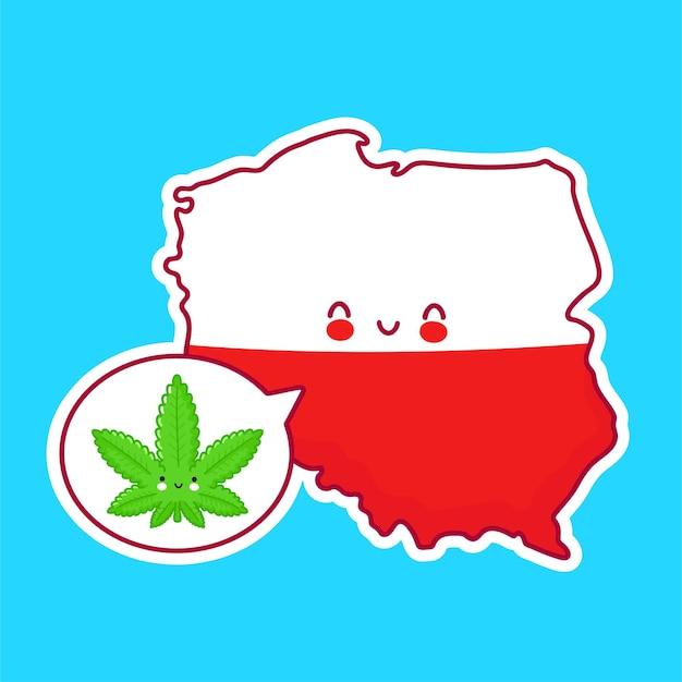 Mignon heureux drôle de carte de pologne et de caractère de drapeau avec de la marijuana de mauvaises herbes dans la bulle de dialogue.