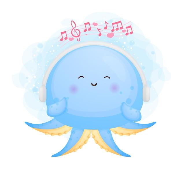 Mignon, heureux, griffonnage, bébé, poulpe, jouer, musique, dessin animé, caractère