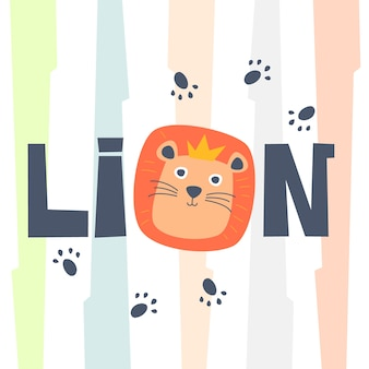 Mignon heureux lion souriant