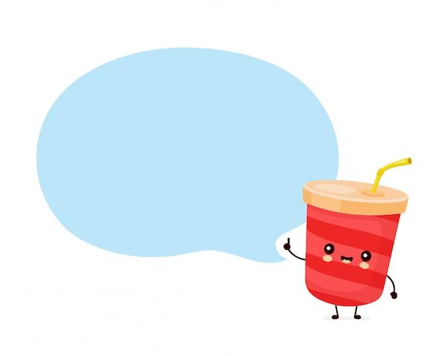 Mignon heureux soda eau tasse avec bulle de dialogue.